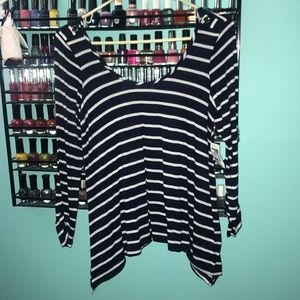 Long sleeve navy and white striped shirt
